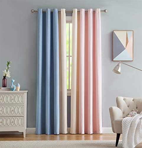 Vandesun Sweet Dream Mixed Color Semi-Blackout Grommet Top Window Curtain for Living Room Bedroom 2 Panels (40W x 63L, - Dreams Sweet Curtains