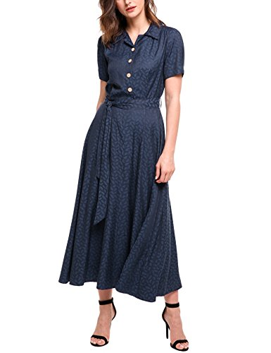 Turn Clear Belt Swing Style Waist Maxi Women Collar Short Sleeve Dress Vintage Blue Down with ACEVOG High Z1t6fSW