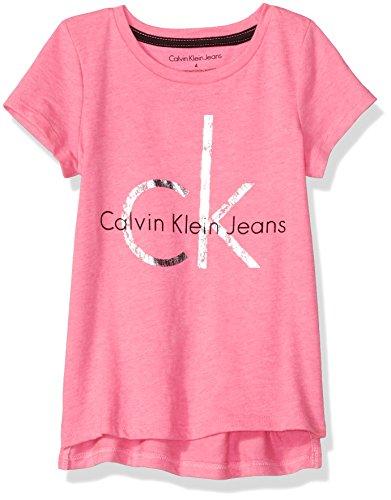 Girls Foil Logo Tee - Calvin Klein Girls' Little CK Logo Tee, Bright Pink Heather, 6