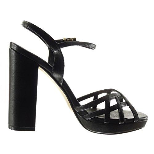 Angkorly - Chaussure Mode Sandale plateforme femme lanière multi-bride boucle Talon haut bloc 12 CM - Noir