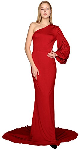 MACloth One Shoulder Long Sleeve Mermaid Prom Dress Jersey Formal ...