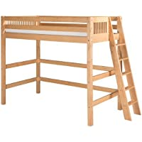 Camaflexi Mission Style Solid Wood High Loft Bed, Twin w/ End Angled Ladder, Natural