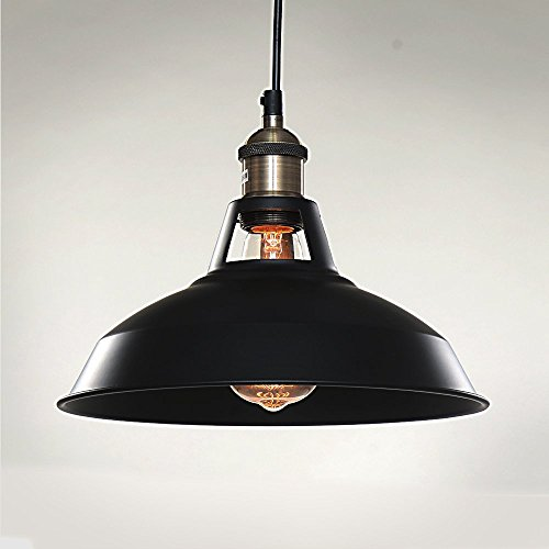 SPARKSOR 1-Light Pendant Lamp, Retro Industrial Pendant Lighting, Black Paint, Metal aluminum, 10.6 inch diameter, Ceiling (non-plug),Adjustable Hanging Height