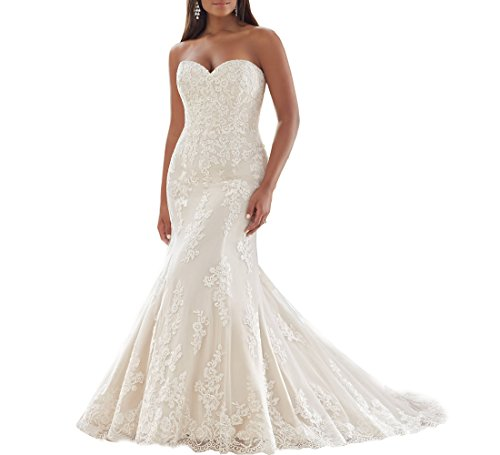 Beauty Bridal Elegant Sweetheart Lace Up Plus Size Wedding Dresses 2016(8,Ivory)