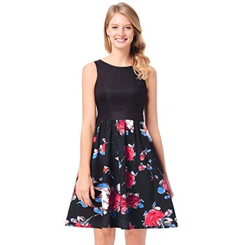 Damen KleiderRose Druck Kleid Robe Retro Swing Lässige Vintage ...