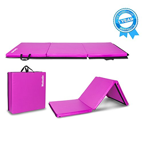 Matladin 6' Folding Tri-fold Gymnastics Gym Exercise Aerobics Mat, 6ft x 2ft x 2in PU Leather Tumbling Mats for Stretching Yoga Cheerleading Martial Arts (Purple)