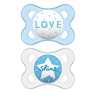 MAM Attitude Collection Pacifiers (2 pack, 1 Sterilizing Pacifier Case), MAM Pacifier 0-6 Months, Baby Pacifiers, Baby Boy, Best Pacifier for Breastfed Babies, Designs May Vary