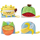 YIQU Cute Cartoon Fruits Plush Toys - Delicious Fruits, Soft and Fuzzy Activity Cloth Book for Baby, Infant, Toddler Cognitive Toys, Developmental Toys Set, Wonderful Baby Gift ( Pack of 4)
