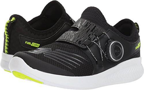 New Balance Boys' Boa v1 Running Shoe, Black/Hi Lite, 10.5 W US Little - Balance Shoes Boys Wide New