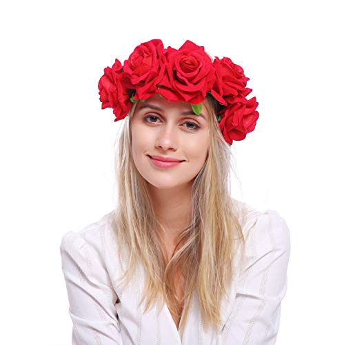 Rose One Red Velvet (June Bloomy Rose Floral Crown Garland Flower Headband Headpiece for Wedding Festival (HB-Velvet Red))