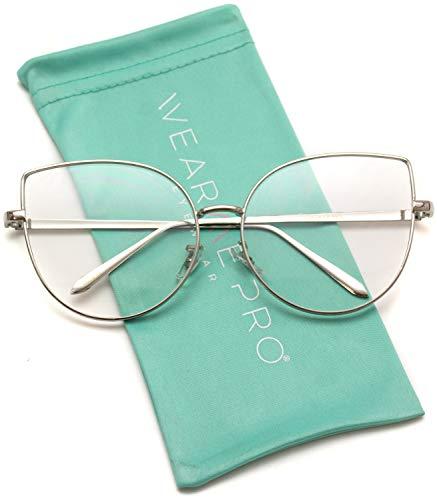 - WearMe Pro - Clear Thin Frame Oversized Delicate Non- Prescription Glasses