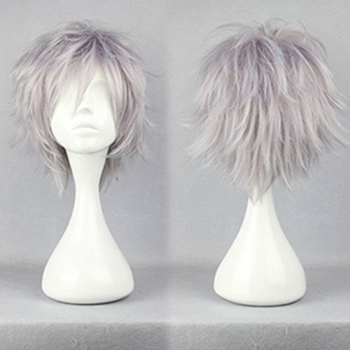 S-noilite Women Men Cosplay Hair Wig Short Straight Anime Party Dress Fluffy Costume Full Wigs Silver Grey