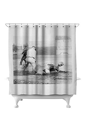 New York Yankee Player Slides Into Base Photograph 71x74 Polyester Shower Curtain
