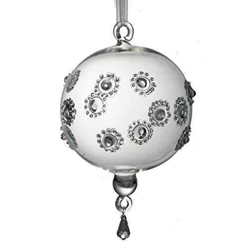 Set of 2 Mouth Blown Embossed Clear Egyptian Glass Ball Christmas Ornaments 7