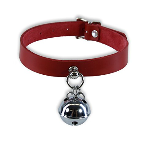 Pawstar Kitty Bell Collar Leather Choker - Red
