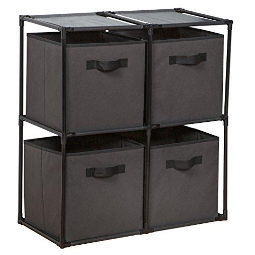 - Richards Homewares Grey DIY Cube Set/4 4 Grid System with Fabric Bins