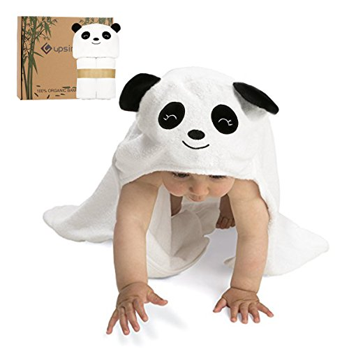Baby Hooded Bath Towel Upsimples Organic Bamboo Baby Towel for Baby Boys and Girls, Ultra Soft & Super Absorbent Baby Bath Towel Sized for Infant and Toddler