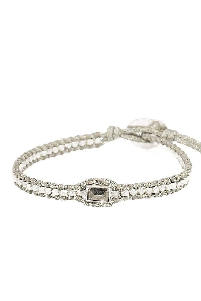 Chan Luu Sterling Silver Beads and Pyrite Stone Single Shimmer Wrap Bracelet BG-5302 Grey mix