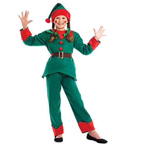 Childrens Santa Outfits (fun shack Kids Elf Costume Childrens Christmas Santas Helper Boys & Girls Outfit -)