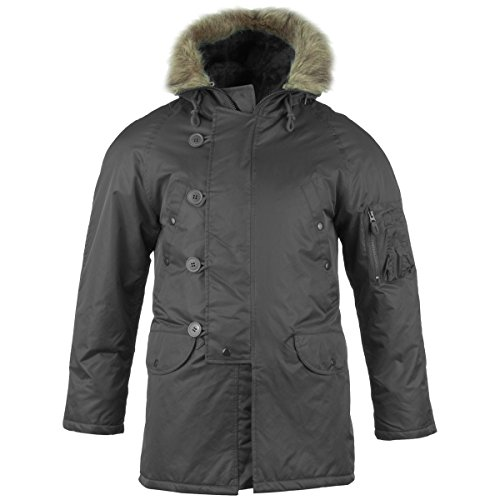 - Camooutdoor Men's USAF Military Warm Extreme Cold Weather N-3B Flight Parka Jacket Triple Extra Large Black
