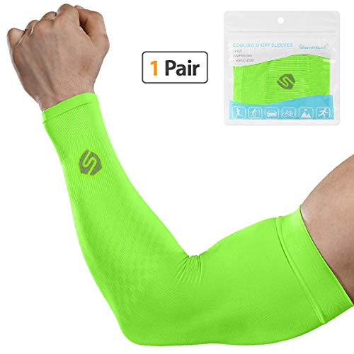 SHINYMOD Cooling Sun Sleeves 2018 Newest Upgraded Version 1 Pair/ 3 Pairs UV Protection Sunblock Arm Tattoo Cover Sleeves Men Women Cycling Driving Golf Running-(1 Pair Black)