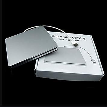 Tipo de computadora portátil Succión Ranura Super Slim USB 2.0 en grabadora de DVD Externa Caja de Caja de Unidades externas: Amazon.es: Electrónica
