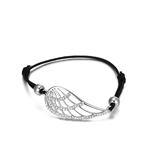 YOYOMA Women Charm Bracelet Knot Bangle Lucky Angel Wings Bracelet Black Adjustable Wax Cord Cuff Bracelet Czech Crystal (Silver Plated)
