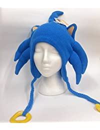 Sega Sonic The Hedgehog 3D Licensed Junior Adult Laplander Blue Knit Hat Tuque