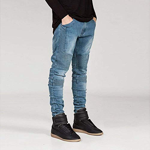 Look Slim Giovane Hellblau Da Pants Fit Jeans Stretch Biker Lavato Uomo Destroyed Skinny Denim In 7Uzqq