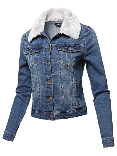 - Awesome21 Casual Fur Collar Stretchable Retro Denim Jacket White Size 2XL