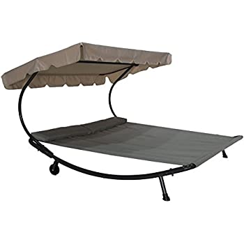 Abba Patio Outdoor Portable Double Chaise Lounge Hammock Bed with Sun Shade and Wheels  sc 1 st  Amazon.com : chaise lounge double - Sectionals, Sofas & Couches