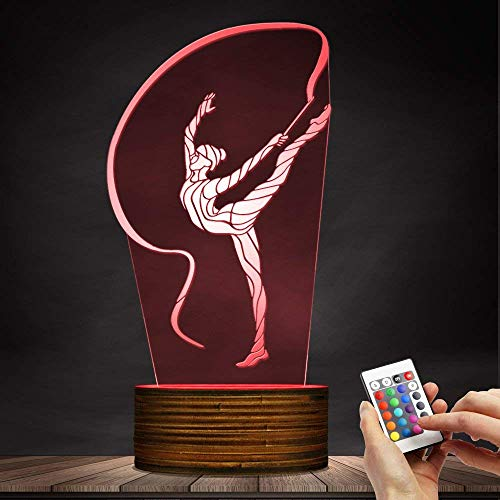 Novelty Lamp, 3D Led Lamp Rhythmic Gymnastics Night Light Optical Illusion Remote Control 15 Colors with USB Charging Interior Lighting Children's Birthday Present New Year and Anniversary,Ambient Li by LIX-XYD (Image #1)
