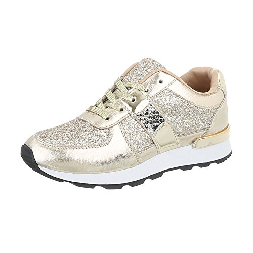 Baskets Basses Design Italien Chaussures Femmes Lacets Casual Or G-102