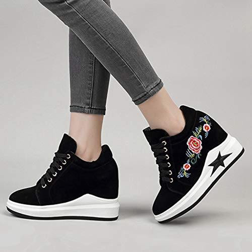 Increased Round Toe Embroidery Platform Top Black Wedge Walking Casual Women Height Shoes Sneakers High GIY Sports fnzqxXT5wI