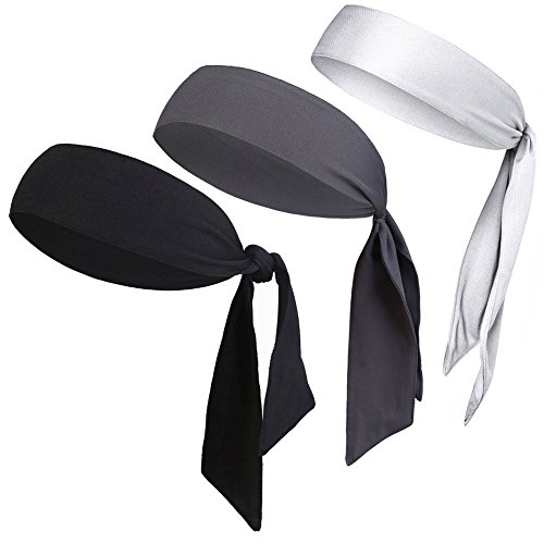 "Dri Fit Head Tie - V-SPORTS Dri-Fit Head Ties Tennis Headbands Sweatbands Performance Elastic and Moisture Wicking, Black/White/Gray, 3 Piece, One Size, 40.16""L/2.37"