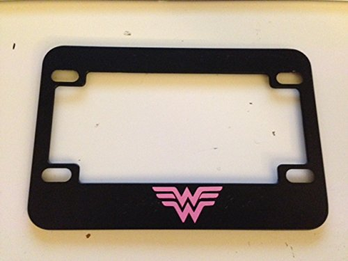 '' W '' Wonder Woman Style - Black with Pink Motorcycle / Scooter License Plate Frame - Super Mom Super Girl Super Woman