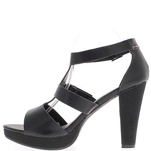 Sandalias talla grande negro tacón grueso 12 cm ancho cerrado bridas