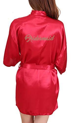 DF-deals Women's Satin Kimono Robe for Bridesmaid and Bride Wedding Party Getting Ready Short Robe with Gold Glitter -