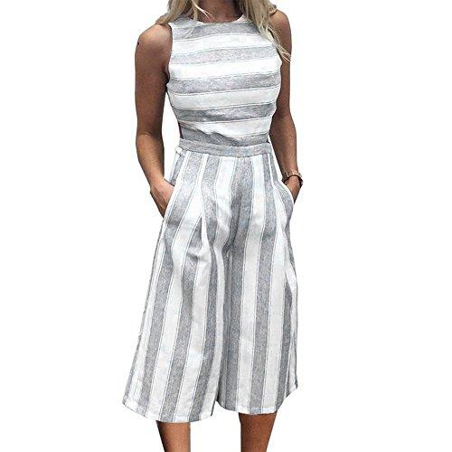 Damen Gestreift Jumpsuit, Sexy Rückenfrei Ärmellos Runder Kragen Lang Playsuit Mode Loose Fit Overall Casual Clubwear Rompers Khaki/Grau/Blau Grau