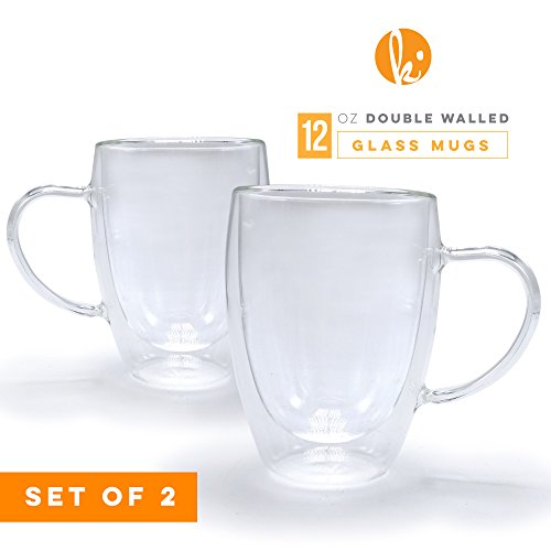Glass Coffee Mugs Drinking Glasses Set of 2 with Handle, 12oz Double Walled Thermo Insulated Cups for Tea Latte Cappuccino Espresso