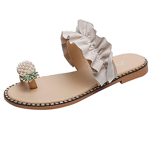 Balakie Women Casual Slippers Pineapple Rhinestone Ruffled Flat Sandals Shiny Clip Toe Flip Flops Beach Shoes