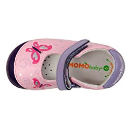 Momo Baby Girls First Walker/Toddler Butterfly Pink Mary Jane Leather Shoes - 5.5 M US Toddler
