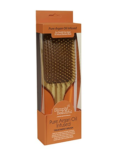 Pure Argan Oil Infused Smoothing Bamboo Paddle Hair Brush. Infused with 100% Argan Oil to Improve Shine, Prevent Hair Breakage, Split Ends and Increase Hair Strength (Deliverable Gift Baskets)