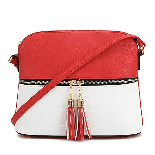 SG SUGU Lightweight Medium Dome Crossbody Bag with Tassel | Zipper Pocket | Adjustable Strap (Red/White)