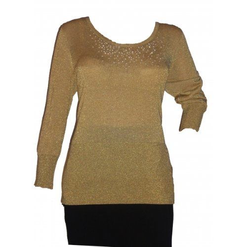 Beaded Silk Sweater (August Silk Women's Blouse Beaded Gold (X-Large))