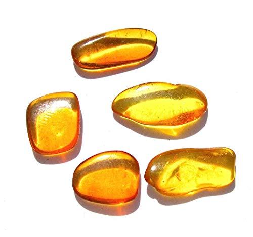 (Raw Amber Flat Gemstones Very Small Set of 5)