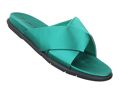 Damen Sandalen Schuhe Strandschuhe Sommerschuhe Pantoletten Grün