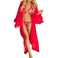 Sexy Lingerie, Women Mesh Flared Sleeve Cover Up Sunscreen Long Bathrobe Hot Sale