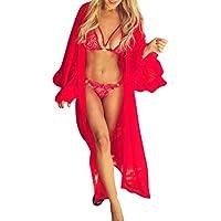 Sexy Lingerie, Women Mesh Flared Sleeve Cover Up Sunscreen Long Bathrobe Hot Sale