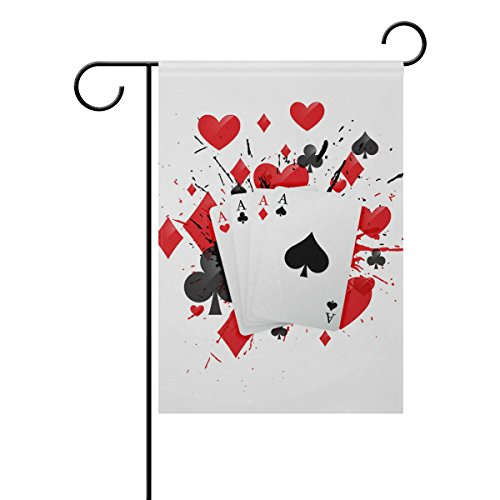 """LEISISI Four Aces Poker Card Garden flag 28""""X40"""" Two Sided Y"""